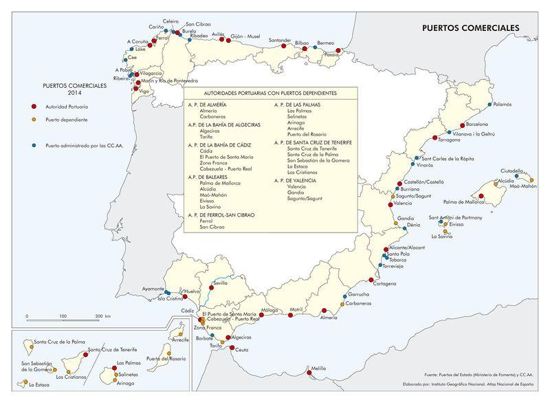 Mapa de Provincias marítimas y Puertos de España - Atlas Nacional de España